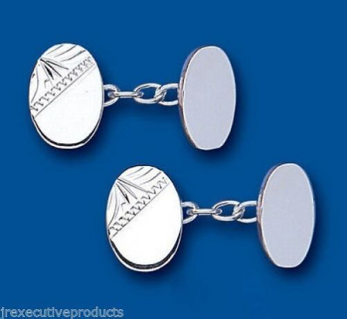 Chained Oval Cufflinks Solid Sterling Silver